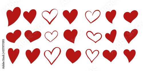 Fototapeta Set of 21 different simple red hearts isolated on white for Valentines day card or t-shirt design. Hand drawn style. Vector illustration. obraz