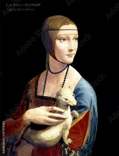 The Lady with an Ermine by Leonardo da Vinci painting reproduction in Low Poly style Canvas-taulu