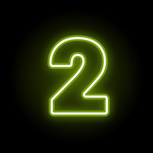 Green Neon Number 2 With Glow On Black Background. Blur Effect Is Made With Mesh. Vector Illustration