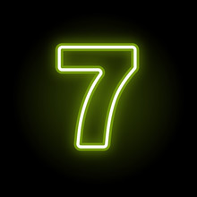 Green Neon Number 7 With Glow On Black Background. Blur Effect Is Made With Mesh. Vector Illustration
