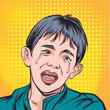 Crying Boy. Pop Art Retro Vector Illustration