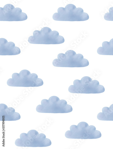 Plissee mit Motiv - Cute Pattern with Fluffy Blue Clouds Isolated on a White Background. Lovely Nursery Art with Watercolor Clouds. Cloudy Sky Print for Pattern, Fabric, Invitation, Textile, Boys Room Decoration. (von Magdalena)