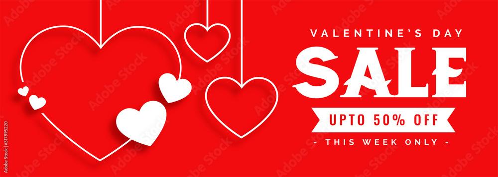 Fototapeta elegant line style valentines day sale banner