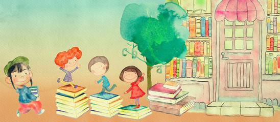 Bookstore. Watercolor illustration for children