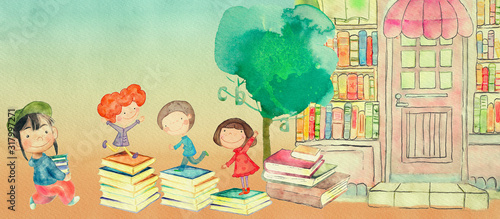 Photographie Bookstore. Watercolor illustration for children