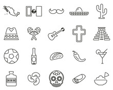 Mexico Country & Culture Icons...