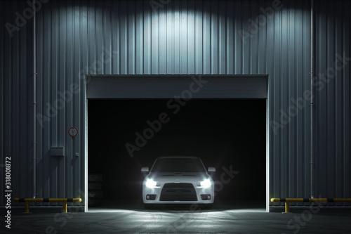 Fotografia Car in the garage with roller shutter door. 3d render