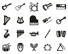 Musical Instruments Icons Black & White Set Big