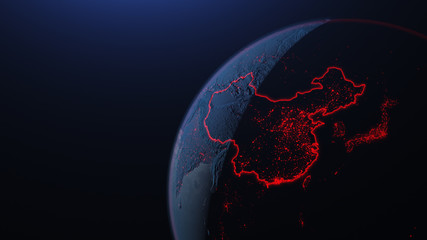 3d iillustration of globe with China corona virus Spreads in Asia
