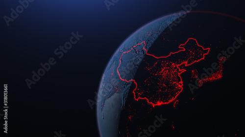 Fototapeta 3d iillustration of globe with China corona virus Spreads in Asia obraz