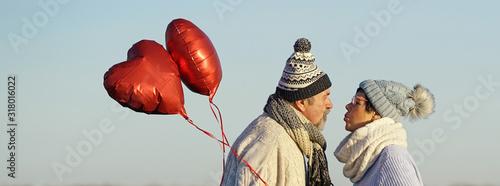 Senioren küssen sich zum Valentinstag Canvas Print