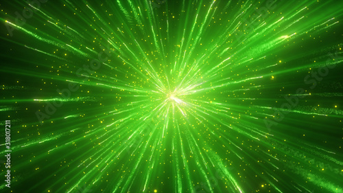 Explosion of green powder or dust. Colored particle splash, fume effect, festive abstract background. Explode particles freeze. Isolated on black. - 318017211