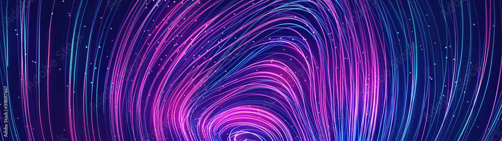 Abstract blue and purple dynamic background.Futuristic vivd neon swirl lines. Light effect.