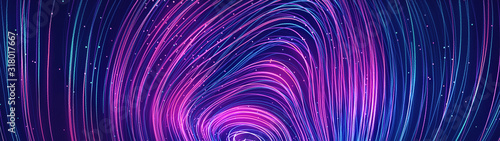 Obraz Abstract blue and purple dynamic background.Futuristic vivd neon swirl lines. Light effect. - fototapety do salonu