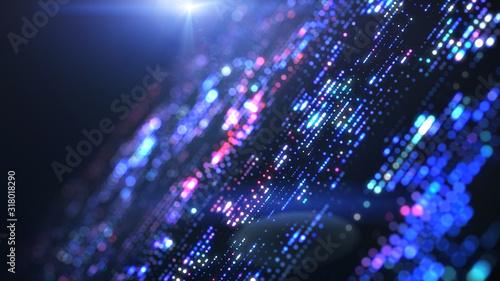Obraz Flow of digital information. Global connection concept. Technology futuristic background. Big data visualization. - fototapety do salonu