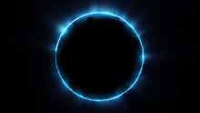 Template For Text : Blue Neon Glowing Glare Circle With Rays. Frame Isolated On Black Background