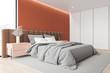 Orange and white master bedroom corner