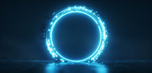 Futuristic Blue Glowing Neon R...
