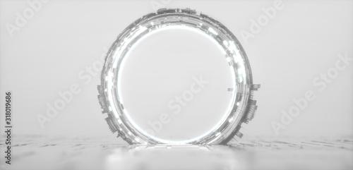 Futuristic white glowing neon round portal Canvas Print