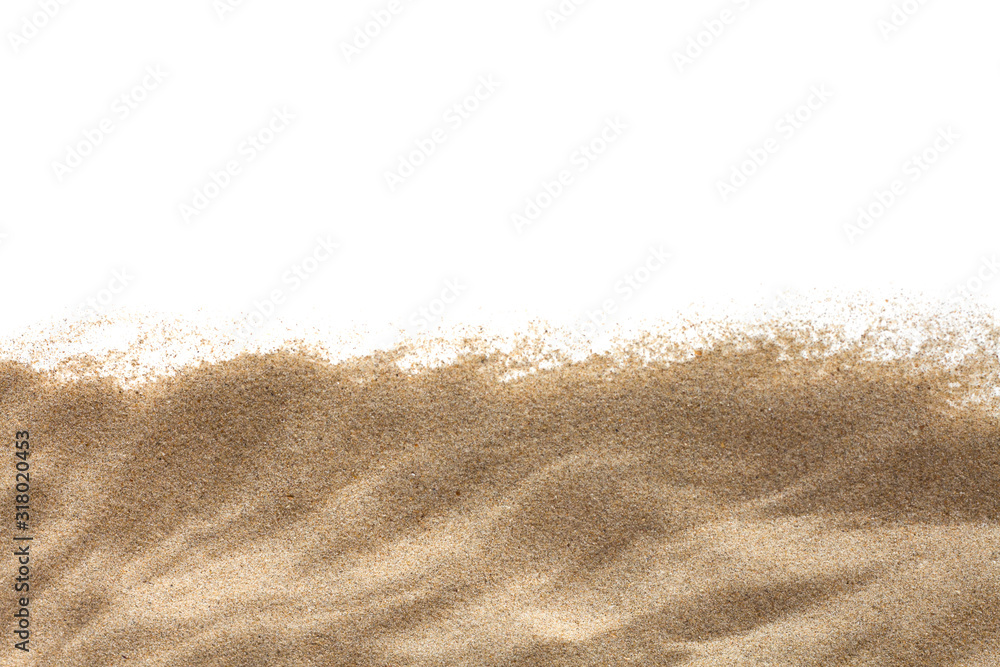 Fototapeta The sand isolated on white background. Flat lay top view. Copy space.