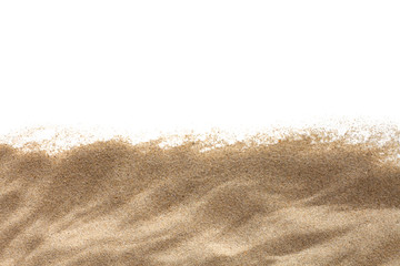 Fototapeta na wymiar The sand isolated on white background. Flat lay top view. Copy space.