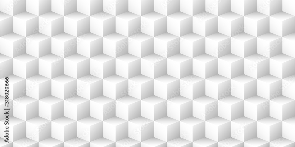 Fototapeta White geometric vector background with 3d texture from cubes.