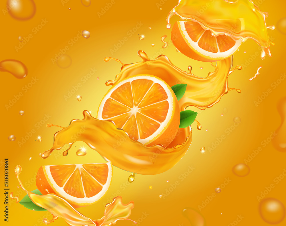 Fototapeta Vector juicy, fresh orange background with whole and slices of oranges with juice splash, leaves and drops advertising