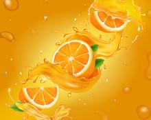 Vector Juicy, Fresh Orange Bac...