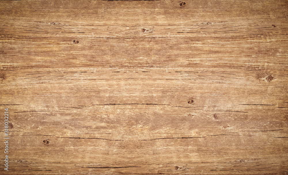 Fototapeta Wood texture background. Top view of vintage wooden table with cracks. Light brown surface of old knotted wood with natural color, texture and pattern.