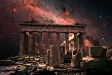 Athens At Night, Greece. Fantasy View Of Parthenon On Milky Way Background. This Old Temple Is Top Landmark Of Athens. Elements Of This Image Furnished By NASA.