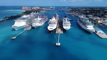High Angle View Of Cruise Ship...