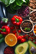 canvas print picture Assorted organic food products on the table