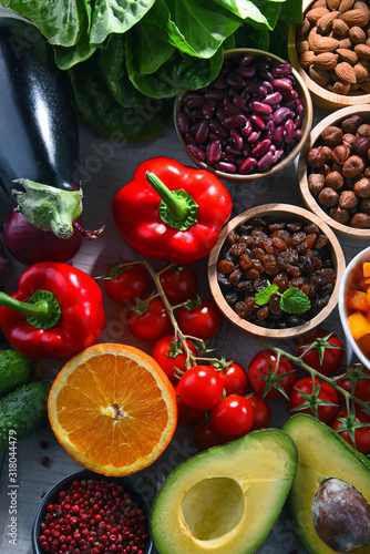 Assorted organic food products on the table