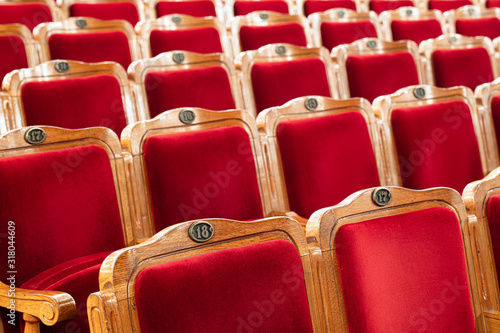 Photo Row of red seats in theatre