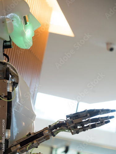 Canvastavla robot hands and face endowed with movement on white background