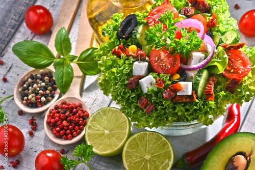 Fotografie, Obraz Composition with vegetable salad bowl