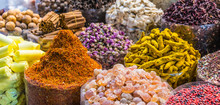 Spices And Herbs On The Arab Street Market Stall