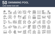 Set Of 50 Swimming Pool Icons....