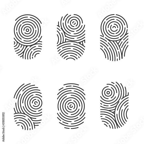 Vector set of black and color fingerprints isolated on white background Wallpaper Mural