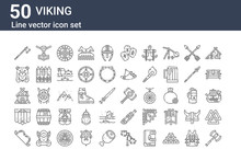 Set Of 50 Viking Icons. Outlin...