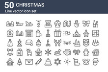 Set Of 50 Christmas Icons. Out...