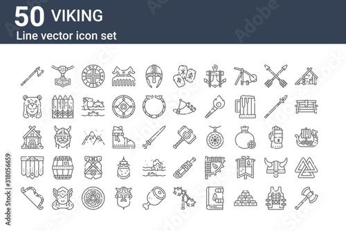 set of 50 viking icons Canvas Print