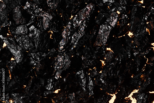 Black charcoal texture, red-hot natural mineral resource background Canvas Print