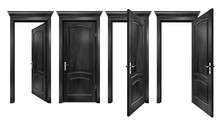 Open And Closed Black Doors Wi...