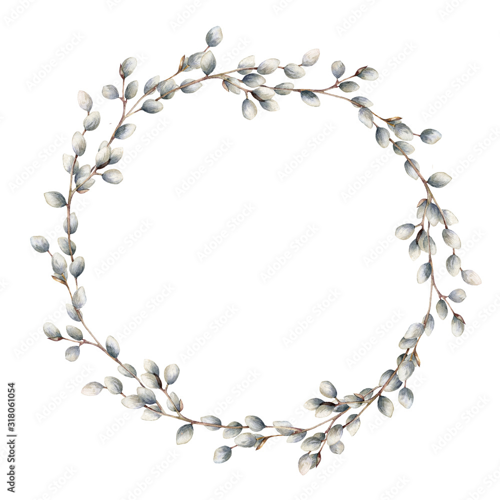 Fototapeta Watercolor willow wreath. Hand painted willow branch isolated on white background. Spring illustration for design, print, fabric or background. Easter template.