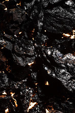 Black Charcoal Texture, Red-hot Natural Mineral Resource Background