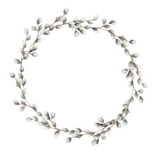 Watercolor Willow Wreath. Hand...