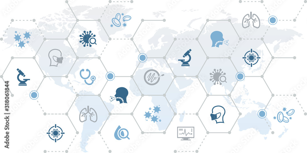 Fototapeta corona virus vector illustration. Abstract concept on a world map with icons related to the 2019-nCoV infection in china.