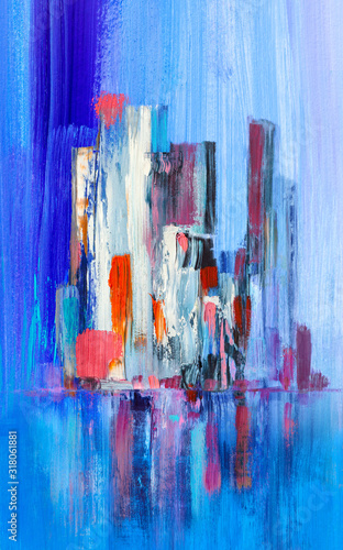 Fototapety, obrazy: Abstract painting of urban skyscrapers.