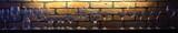 Okulary na tle podświetlanego ceglanego muru